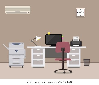 Workplace of office worker. There is a white table, a purple chair, a copy machine, a conditioner, a computer, a printer and other objects in the picture. Vector flat illustration.