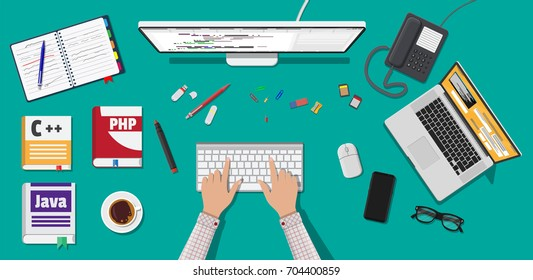 Workplace of programmer or coder. Desktop pc, laptop, books, phone, glasses. Software coding, programming languages, testing, debugging, web site, search engine seo Vector illustration in flat style