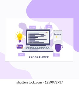 Workplace of programmer or coder. Vector illustration, programmer coding a new project using computer, Web Development, website screens, program code, engineering.