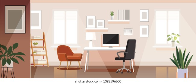 Workplace room, modern Interior, cabinet. Office with computer. Colorful vector illustration in flat cartoon style.