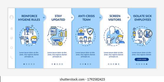 Workplace safety onboarding vector template. Anti-crisis team. Isolate sick employee. Hygiene rules in office. Responsive mobile website with icons. Webpage walkthrough step screens. RGB color concept