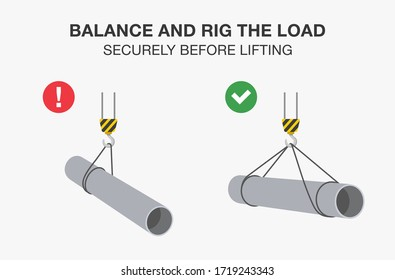 Workplace safety rule for lifting operations. Balance and rig the load securely before lifting. Flat vector illustration.