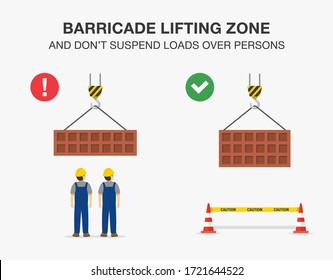 Workplace safety rule for lifting operations. Barricade lifting zone and do not suspend loads over persons. Flat vector illustration.