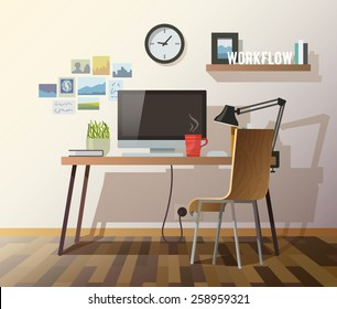 Workplace in sunny room. Stylish and modern interior.Quality design illustration, elements and concept. Flat style.#3