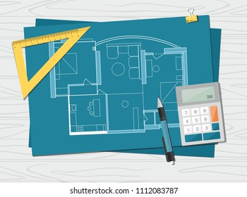 Workplace - technical project architect house plan blueprint. Construction background.