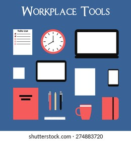 Workplace tools set. Flat style vector illustration.