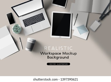 A workplace top view desk mockup. Realistic Vector office accessories.