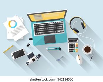 Arbeitsplatz - Draufsicht - flaches Design - Laptoblau - Schreibtisch