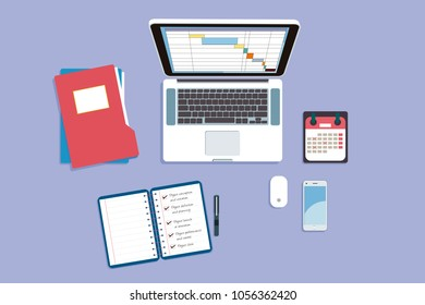 Workplace. Top view of a office table with a laptop, notebook, folders, calendar and smartphone. Vector illustration.