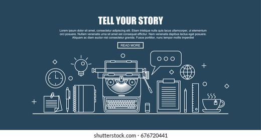 Workplace with typewriter and Blogger tools. Blogger concept header. Flat Thin line Designed Vector Illustration