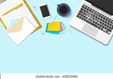 Workplace vector mock-up set. Flat lay top view on realistic mobile phone, laptop, earphones, paper, pen, envelope, stickers, clips, coffee cup. Blog header. Home office, freelance concept.
