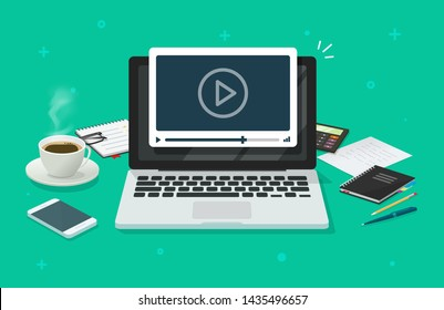 Workplace and working on laptop watching video player, concept of webinar, business online training, education on computer or e-learning concept, video tutorial vector illustration desktop table