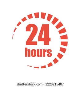 Works round the clock 24 hours. Icon. Vector illustration.