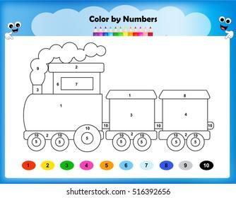 worksheet - color by numbers train worksheet for preschool kids