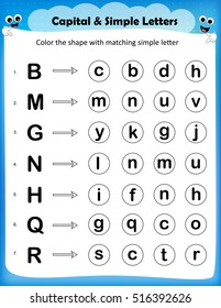 worksheet - color the circle with matching simple letter