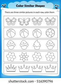 worksheet - color similar shapes kids worksheet for preschool kids