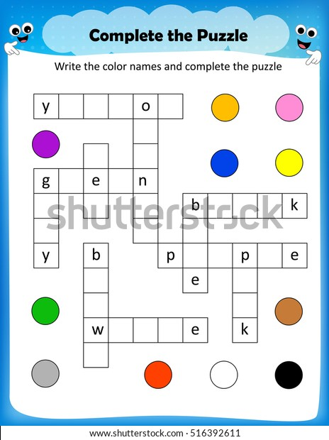worksheet - complete the crossword puzzle colors worksheet for preschool kids