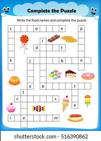 worksheet - complete the crossword puzzle sweets worksheet for preschool kids