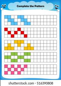 worksheet - complete the pattern worksheet for preschool kids