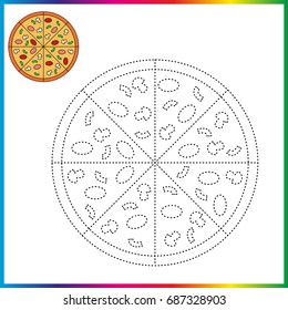 Worksheet, connect the dots and coloring page - game for kids. Restore dashed line - trace game for children.