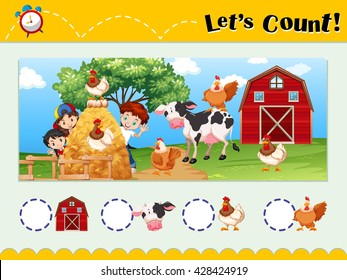 Worksheet design for counting animals