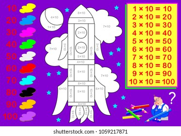 Worksheet with exercises for children with multiplication by ten. Need to solve examples and paint the picture in relevant colors. Vector cartoon image.
