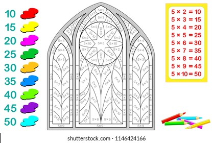 Worksheet with exercises for children with multiplication by five. Need to solve examples and paint the stained glass window in relevant colors. Vector cartoon image.