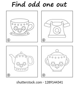 Worksheet. Find odd one out - game for kids. Visual Educational Game for children.