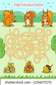 Worksheet with funny riddle. Find the right path. Kids board game with cartoon squirrels. Children funny education activity page for book. Kids art game. Vector illustration.