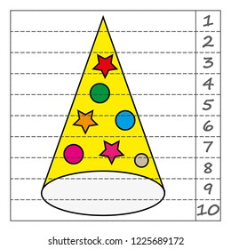 Worksheet. Game for kids, children. Math Puzzles. Cut and complete. Learning mathematics.