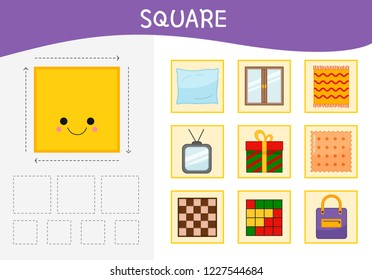 Worksheet for kids learning forms.  A set of objects in the square form .