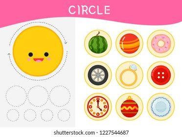 Worksheet for kids learning forms.  A set of objects in the circle form .