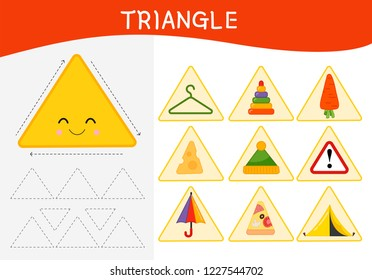Worksheet for kids learning forms.  A set of objects in the triangle form .