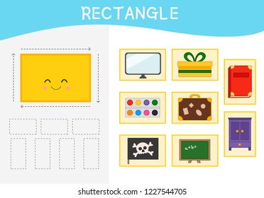 Worksheet for kids learning forms.  A set of objects in the rectangle form .