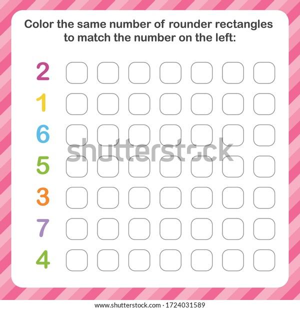 Worksheet Kids Numbers Kids Training Write Stock Vector (Royalty Free)  1724031589