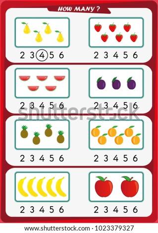 worksheet kindergarten kids count number objects stock vector  worksheet for kindergarten kids count the number of objects learn the  numbers