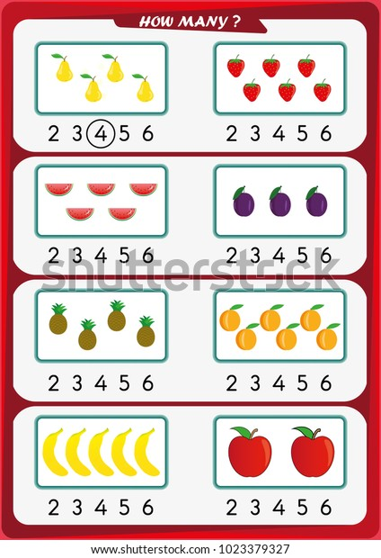 Worksheet Kindergarten Kids Count Number Objects Stock Vector (Royalty  Free) 1023379327