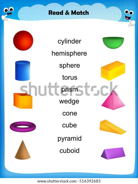 Worksheet Match 3d Shape Images Their Stock Vector Royalty Free 516392683