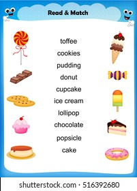 worksheet - match sweets images with their names worksheet for preschool kids