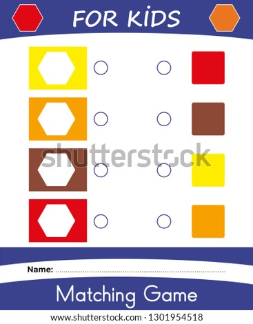 Worksheet Matching Game Kids Learning Colors Stock Vector ...