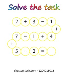 Worksheet. Mathematical puzzle game. Learning mathematics, tasks for addition  for preschool  children. worksheet for preschool kids - vector