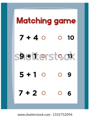 Worksheet Mathematical Puzzle Game Math Learning Stock Vector