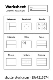 Worksheet on geography for preschool and school kids. Color the flags right. Coloring page. Vector illustration.
