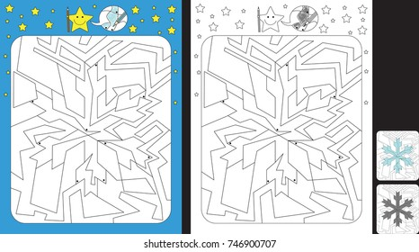 Worksheet for practicing fine motor skills - color only fields with dot - finish the illustration of a snowflake