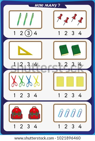worksheet preschool children count number objects stock vector