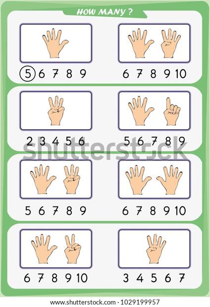 Worksheet Preschool Children Count Number Objects Stock ...