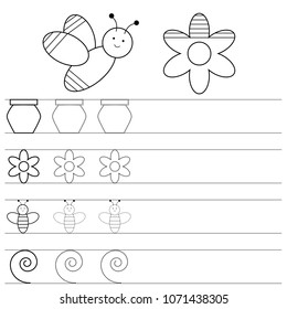 Worksheet for preschool kids, handwriting practice. Writing training hand. Coloring page. Educational game. Vector illustration