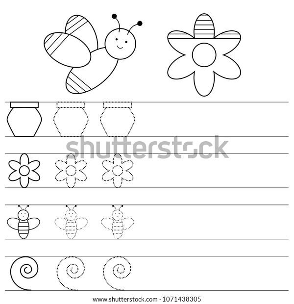 Worksheet Preschool Kids Handwriting Practice Writing Stock Vector (Royalty  Free) 1071438305