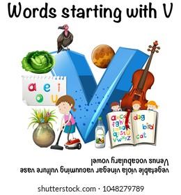 Worksheet for words starting with V illustration