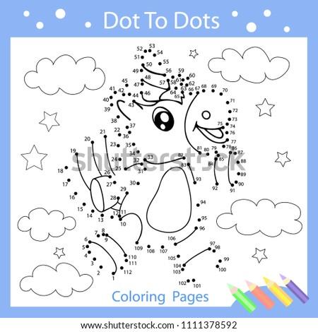 Worksheets Dot Dots Drawn Cute Unicorn Stock Vector Royalty Free